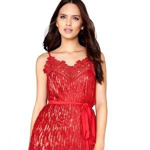 Little Mistress Red Lace Cami Midaxi Dress SZ 10